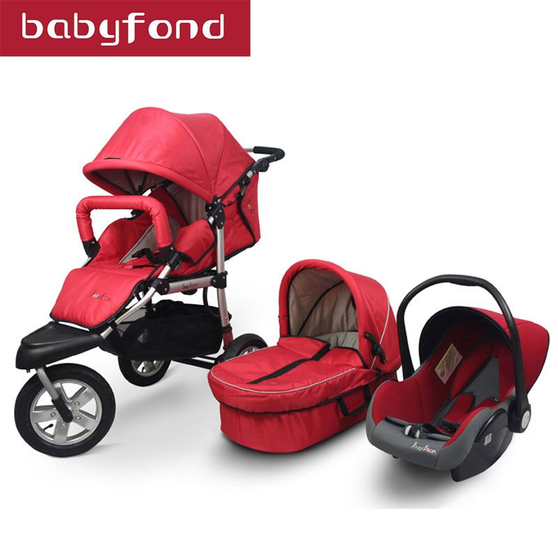 3 in 1 Strollers Baby Stroller Car Suspension Folding Buggiest Including Sleeping Basket and car Seat