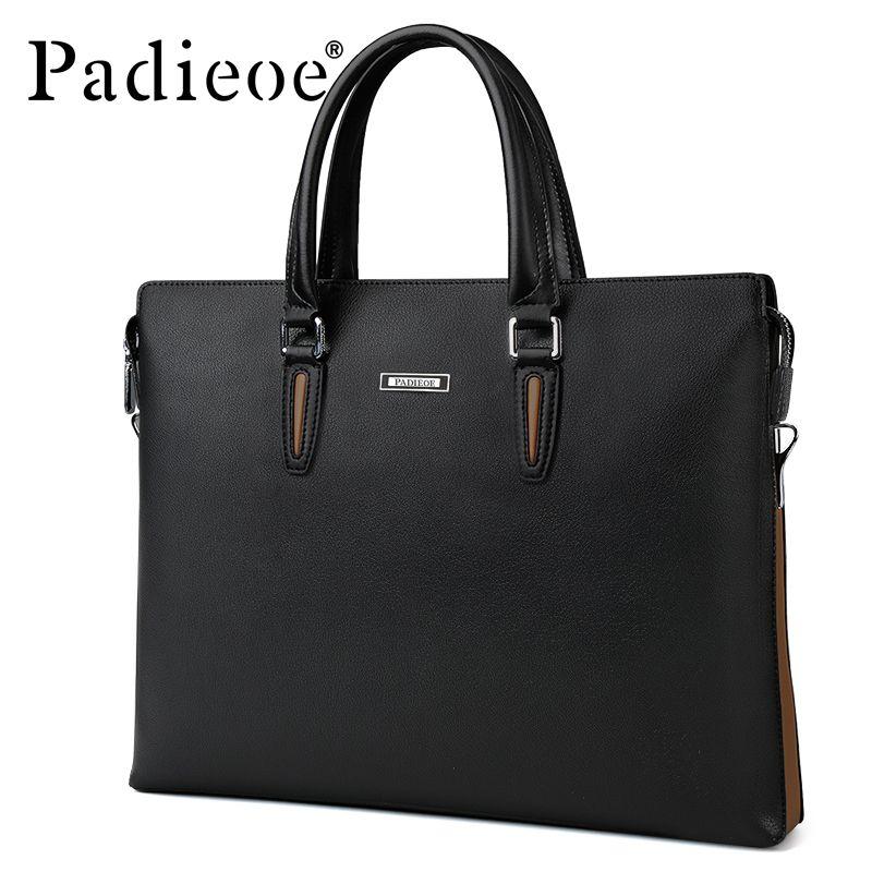 Padieoe Fashion Men Briefcase 14 Inches Laptop Bag Famous Brand Men's Shoulder Bag Documents Totes Bag Male Casual Portfolio