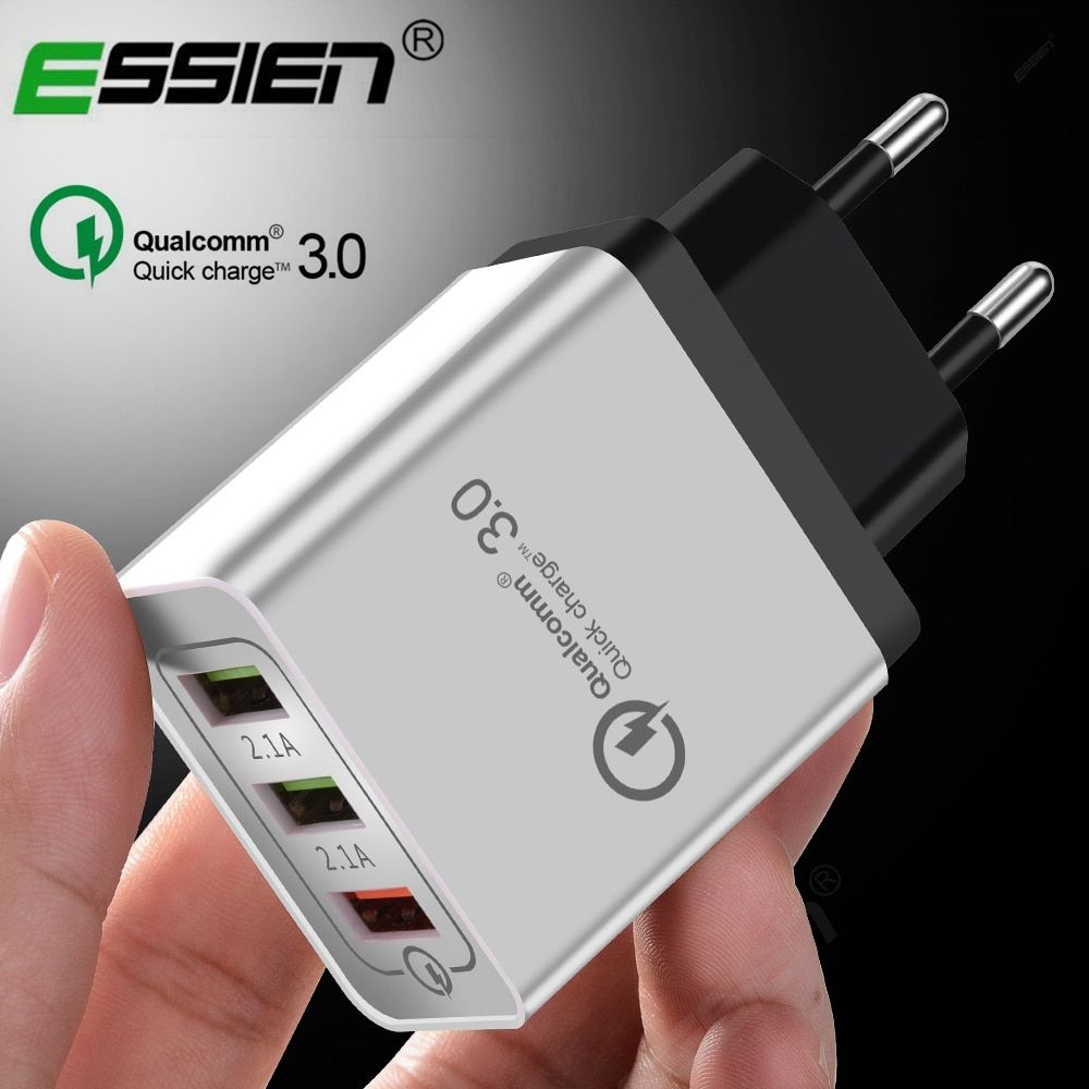 Essien 3 Ports Quick Charger QC 3.0 USB Phone Charger Fast Charger EU/US Plug Mobile Phone Charger for phone for Samsung S8 S9