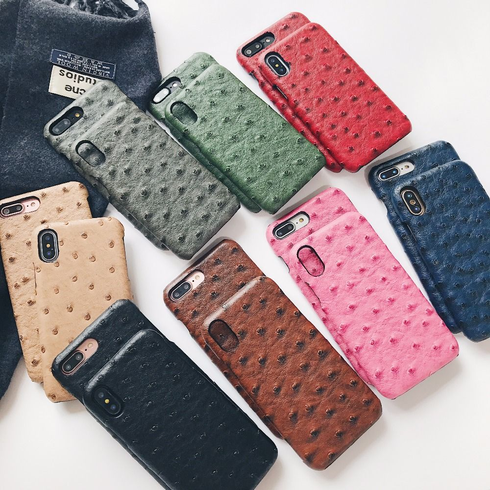 LUDI Hot Ostrich Skin Leather Phone Case for iphone X/XS/8/7/7Plus/8Plus/MAX/XR Hard Hipster PU Cover for iphone 6/6Plus/6sPlus