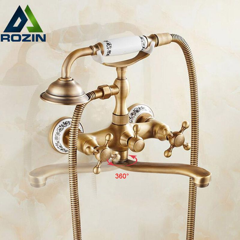 Wall Mounted Long Nose Bathtub Faucet Antique Brass Tub Sink Faucet Telephone Style Bathroom Bath Shower Set with Handshower