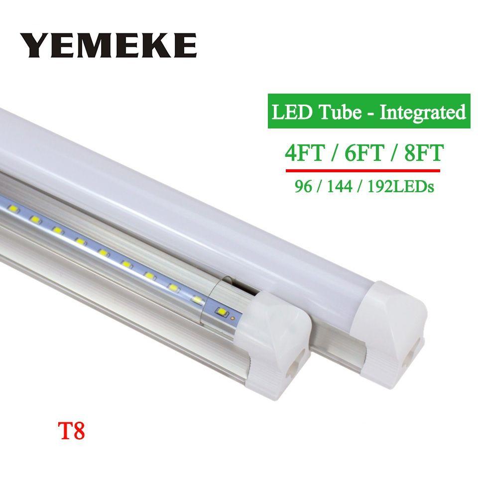 High Power LED Tube 4ft 6ft 8ft Led BulbsTubes T8 Integrated 96led 144led 192leds SMD2835 lampada led lights for home AC85-265V