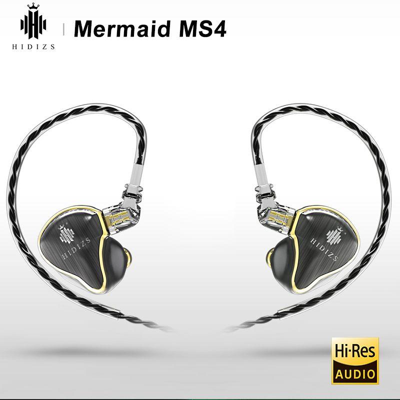 HIDIZS Meerjungfrau MS4 HIFI AUDIO 4 Fahrer Hybrid Triple (3 Knowles BA + 1 DD) in-ohr Monitor Kopfhörer IEM 2 Pin 0,78mm