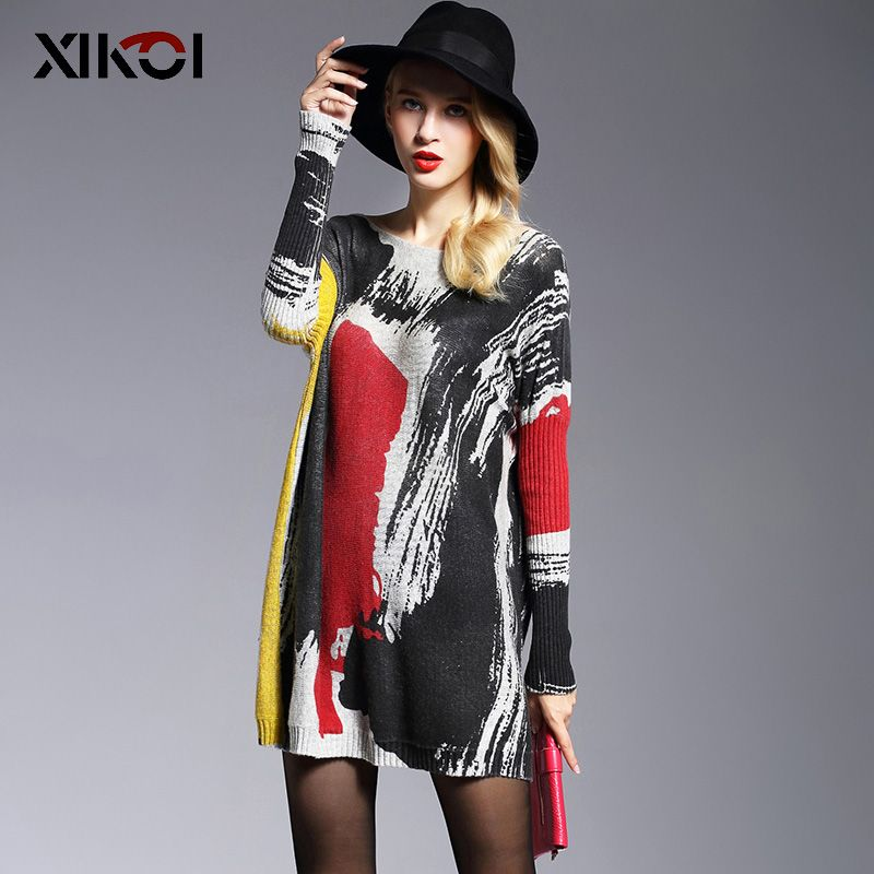 2018 Long Sweater Women Jumper Spring Oversize Pullover Casual Batwing Sleeve Print Fashion Woman Sweaters Clothes Pullovers