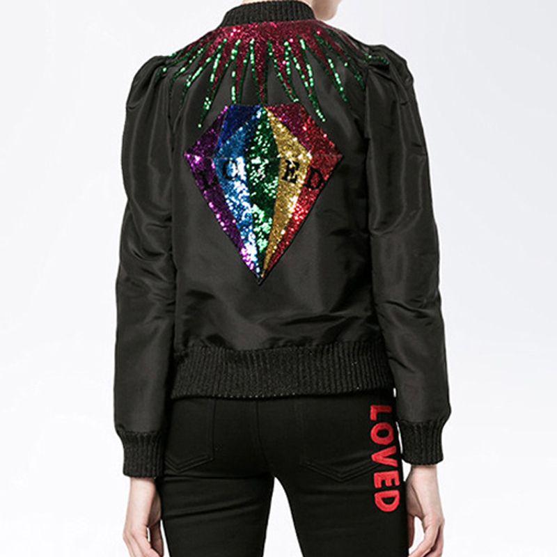Spring Women jacket Puff Sleeve Stand Collar Shiny Diamond Sequined Baseball Uniform Black Coat