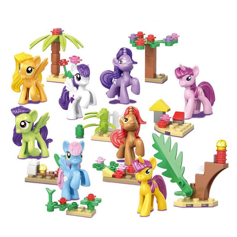 8pcs Princess Girl My Little Horse Legoings Model Building Kits Doll Figures Bricks Blocks Kid Friends Children Toys Gift