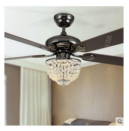 52inch modern minimalist restaurant LED restaurant fashion Crystal fan light ceiling fan with remote control fan light ceiling