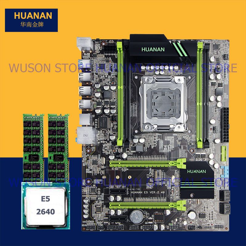 New arrival version 2.49 HUANAN X79 motherboard with Xeon E5 2640 RAM (2*4G)8G DDR3 RECC PCI-E NVME SSD M.2 port all tested