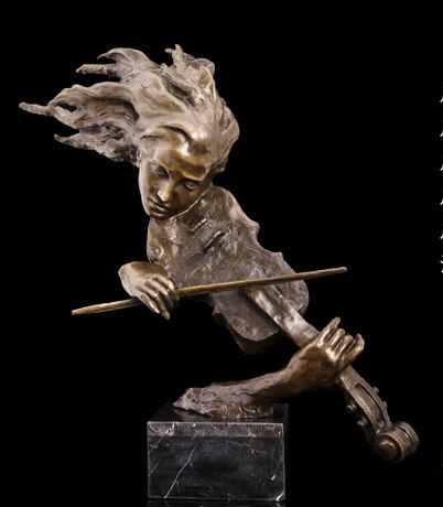 2019 hause WOHNZIMMER wand TOP Decor KUNST--61 CM musik Verrückte violine bronze statue skulptur Dekoration messing dekorative