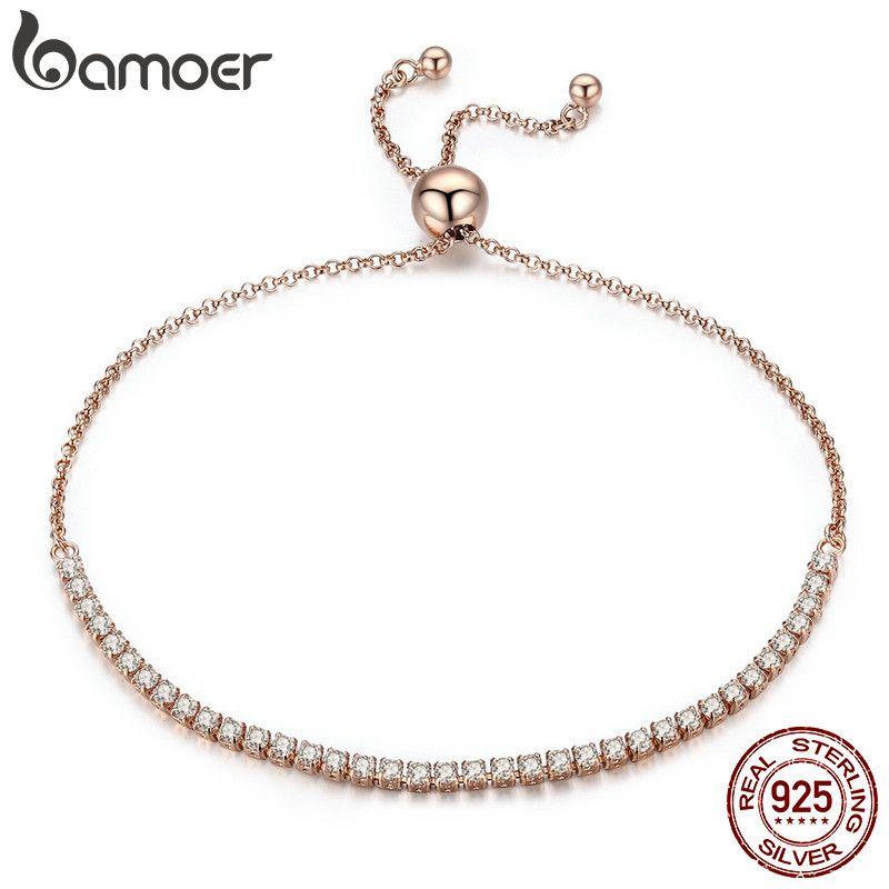 BAMOER Valentine Day Gift 925 Sterling Silver Dazzling Gold Strand Bracelet Tennis Bracelet Women Sterling Silver Jewelry SCB046