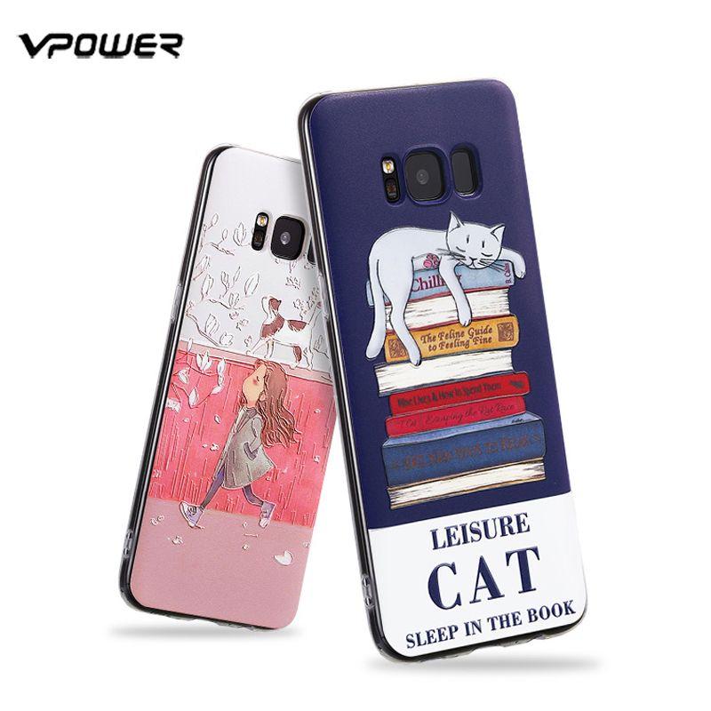 Cas de Vpower Pour Samsung Galaxy S8 Cas 3D Relief Doux Silicone Cas De Couverture De Protection Pour Samsung Galaxy S8 Plus