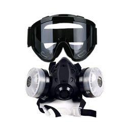 Baru Setengah Wajah Gas Masker dengan Anti-Kabut Kacamata N95 Chemical DUST Filter Masker Pernapasan Respirator untuk Lukisan Semprot welding