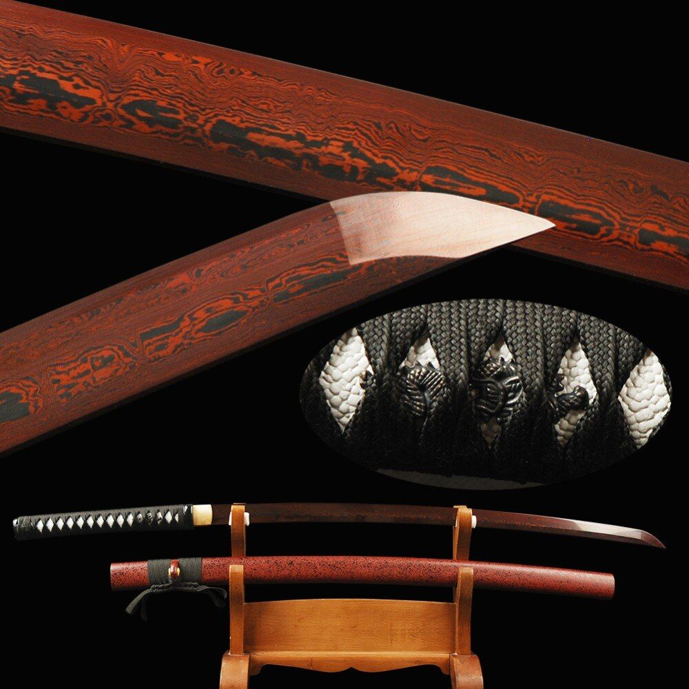 Handmade Japanese Katana Damascus Folded Steel Practical Samurai Sword Red Blade Full Tang Knife Vintage Home Metal Decoration