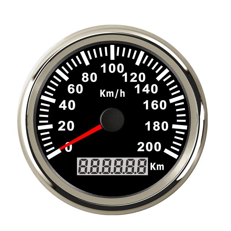 316L Lünette 85mm 12 v 24 v Universal Speed Gauge GPS Lcd-computer-geschwindigkeitsmesser-grüne Mit Hintergrundbeleuchtung 200 km/std für Auto lkw Marine Boot ATV UTV