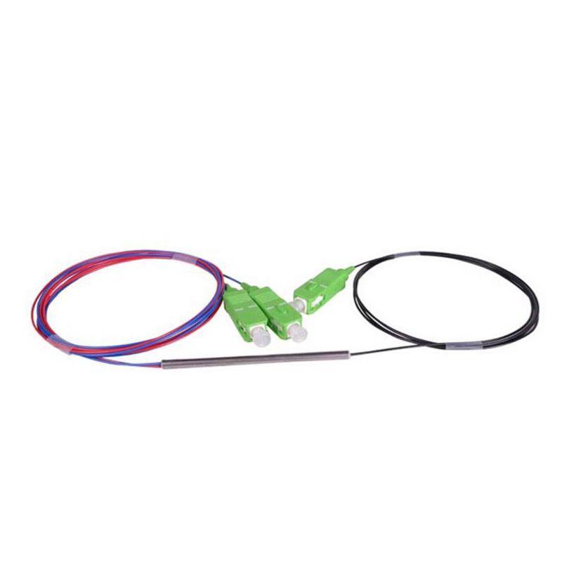 SCAPC 1X2 PLC Singlemode Fiber Optical splitter FTTH PLC Steel tube type SCAPC1x2 PLC optical fiber splitter FBT Optical Couple