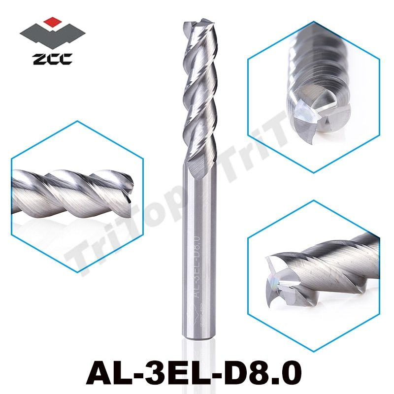 2 PCS/LOT D'origine ZCC. CT AL-3EL-D8.0 solide carbure 8mm allongement end mill longue flûte extension de pointe cnc outils