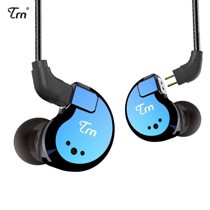 TRN V80 2BA+2DD Hybrid Metal In Ear Earphone IEM HIFI DJ Monito Running Sport Earphone Earplug Headset 2Pin Detachable Cable