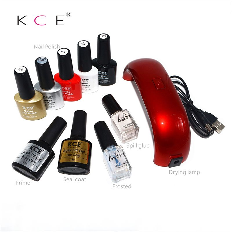 KCE UV 9W lamps of Resurrection Nail tools and portable package five 10 ml soaked UV glue Gel Summer brilliant Nail Polish Set