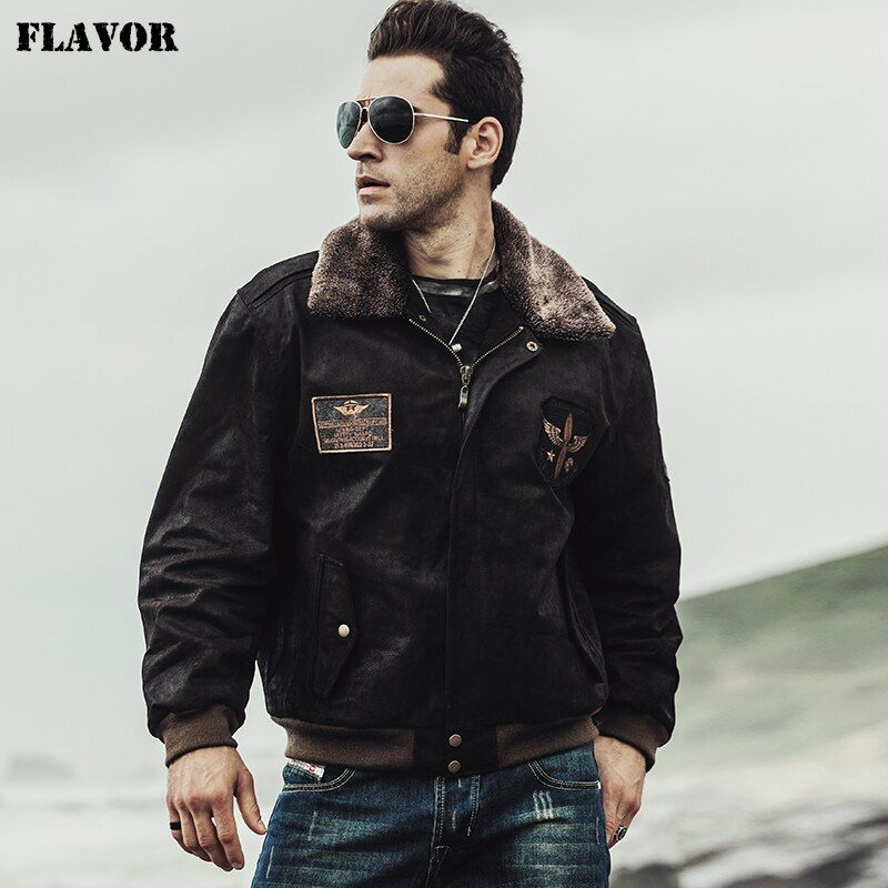 FLAVOR 2017 Winter men's Pilot Genuine Leather Jacket Bomber Male warm Coat Real Leather Flight Jacket