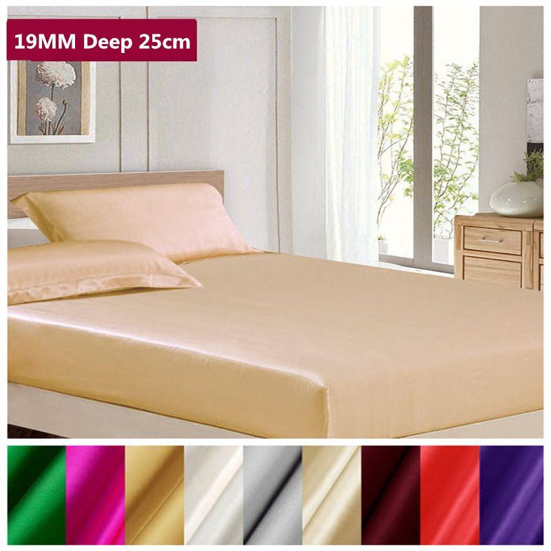 Livraison Gratuite 19mm 100% Soie Du Mûrier Drap Profonde 25 cm Doux Drap Plat Multicolore Multi Taille ls0114-19003