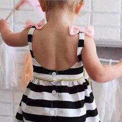 Baby Girls Dress Summer 2017 Stripe Dress Baby Dressing for Party Holiday Black and White with Bow Kids Clothes Girls Cute Brand