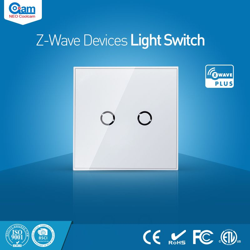 NEO Coolcam Smart Home Z-Wave 2CH EU Wall Switch Sensor Compatible with Z-wave 300 series and 500 series Home Automation