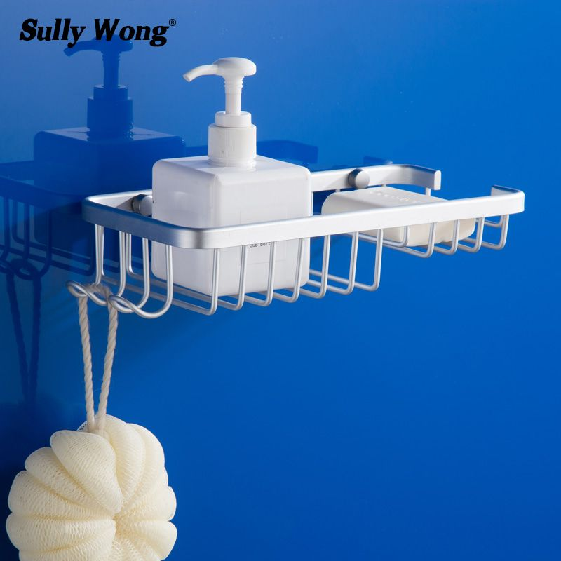 Sully House Space Aluminum Bathroom Basket Shelf,Toilet Shower Shampoo Soap Dish Cosmetic Bathroom Shelves Accessorie Holder