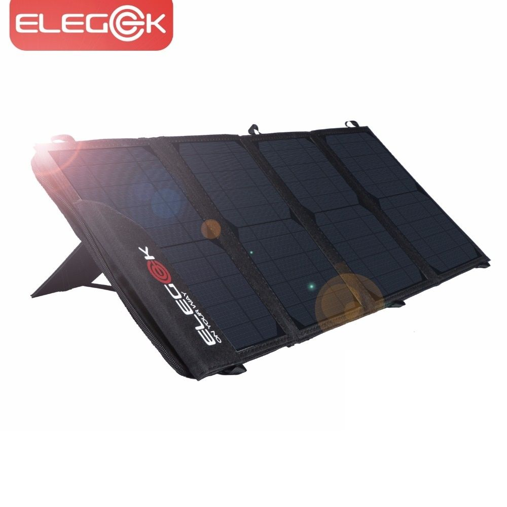 ELEGEEK 22W 5V Portable Solar Panel Charger Dual USB Foldable Solar Panel with Adjustable Stand and Storage Bag for Smart Phone