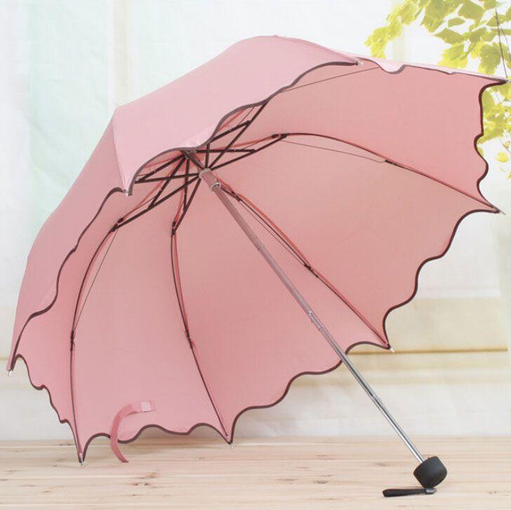 Pour Femmes Pluie Parapluie 4 Pliage Femelle Parapluies Poignée Confortable Fortement Marque Princesse Artisanat 92 cm En Plein Air Voyage