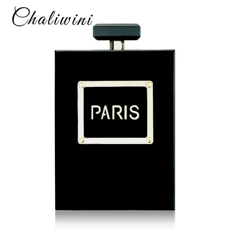 HOT Women Casual Black Acrylic Perfume Bottle Handbags Small Wallet Paris Pattern Party Toiletry Wedding Clutch Bag Evening Bags