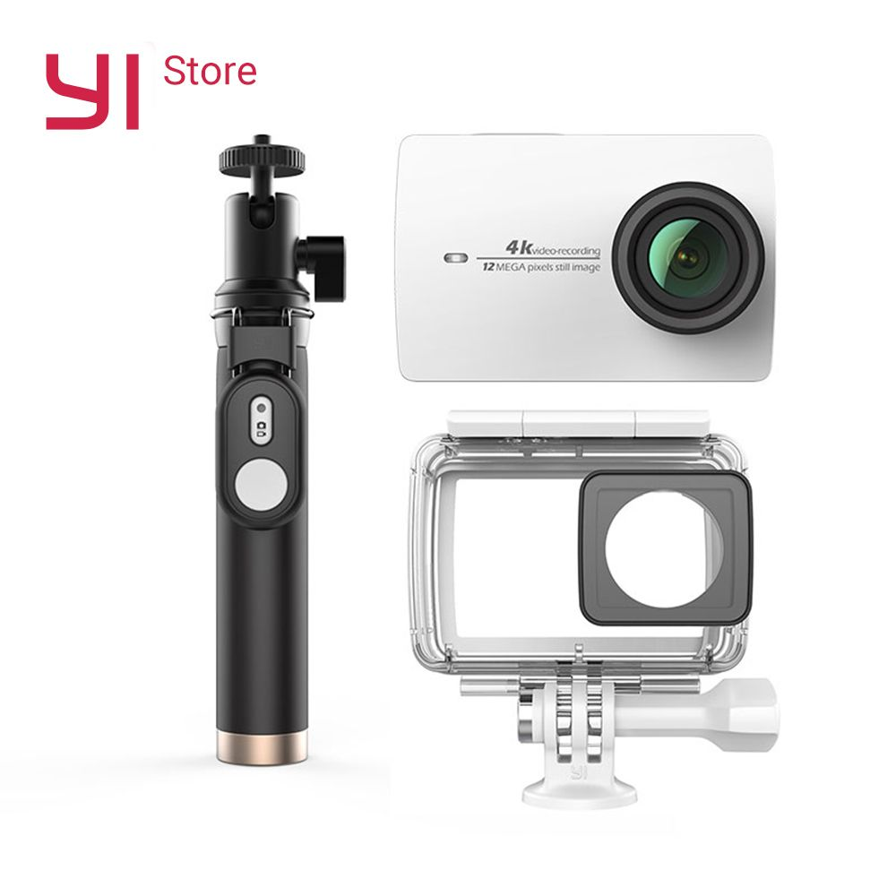 YI 4K Action Camera Bundle With Waterproof case and Selife Stick <font><b>2.19</b></font> LCD Tough Screen Wifi International Version Sports Camera