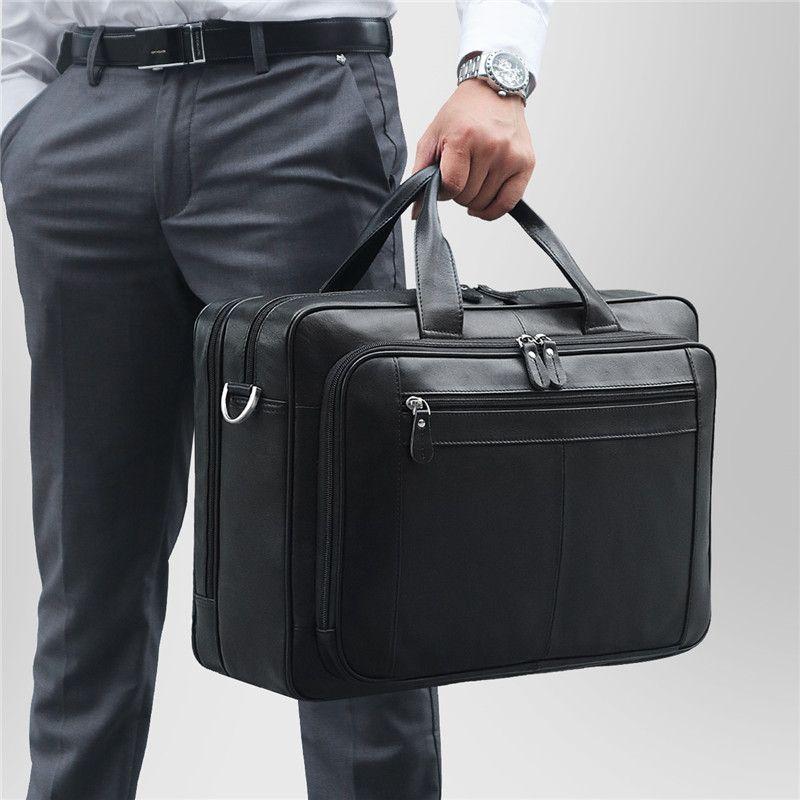 Nesitu Großen Schwarzen Kaffee Echtem Leder Aktentasche Männlichen Portfolio 14 ''15,6'' Laptop Business Reise Männer Messenger Taschen M7320