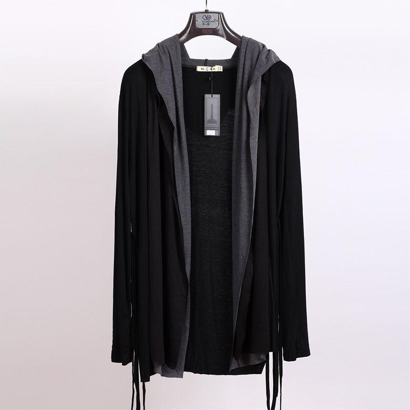 Primavera y otoño nuevos hombres de punto marea delgada coreana chaqueta de manga larga no convencionales sexual falso dos sola pieza con capucha
