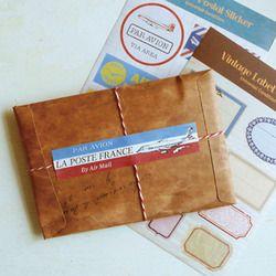 5 Pcs/ensemble Style Rétro Kraft Papier Enveloppe Carte Postale Invitation Lettre Papeterie Papier Sac Vintage Air Mail Cadeau Enveloppe XF08