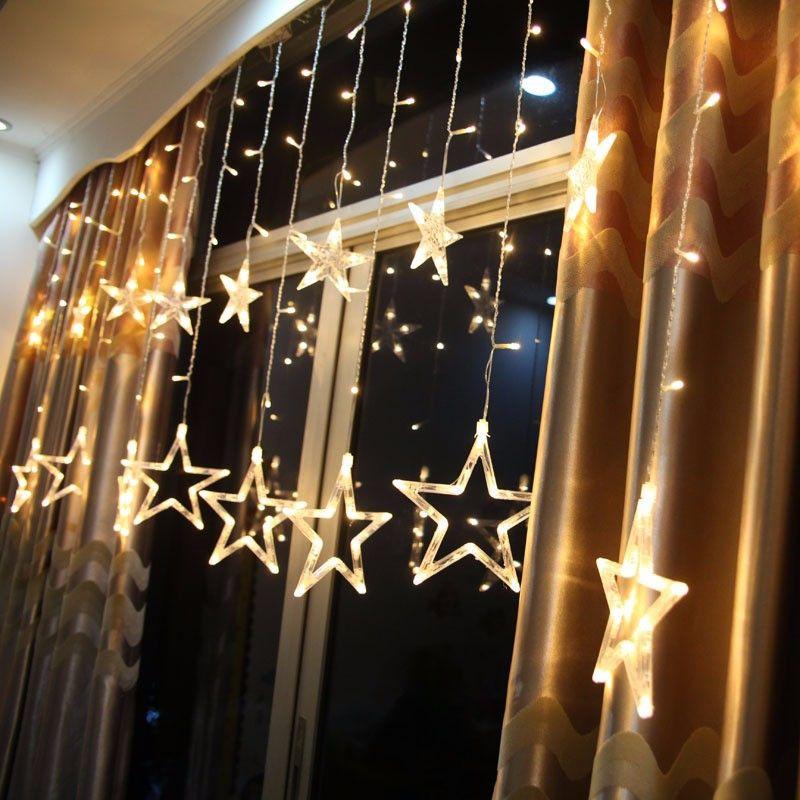 Décorations pour La Maison Rideau Étoiles Lumières de noël En Plein Air Led Cordes Nouvel An Décor Navidad Natal Decoracion Kerst 12 Lampe. W