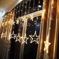 Decoraciones navideñas para luces de cortina de estrella del hogar cadena Led exterior decoración de Año Nuevo Navidad Natal decoración Kerst 12 lámpara. W