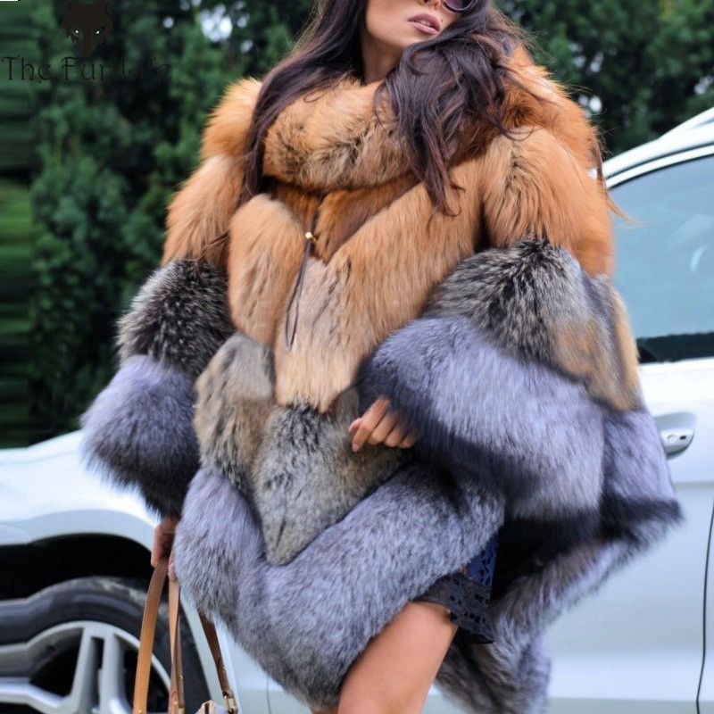 2018 Fashion Luxury Wholeskin Fox Fur Cape Thicken Warm For Ladies Red & Silver Fox Fur Coats wholesale Big Promotion Coats