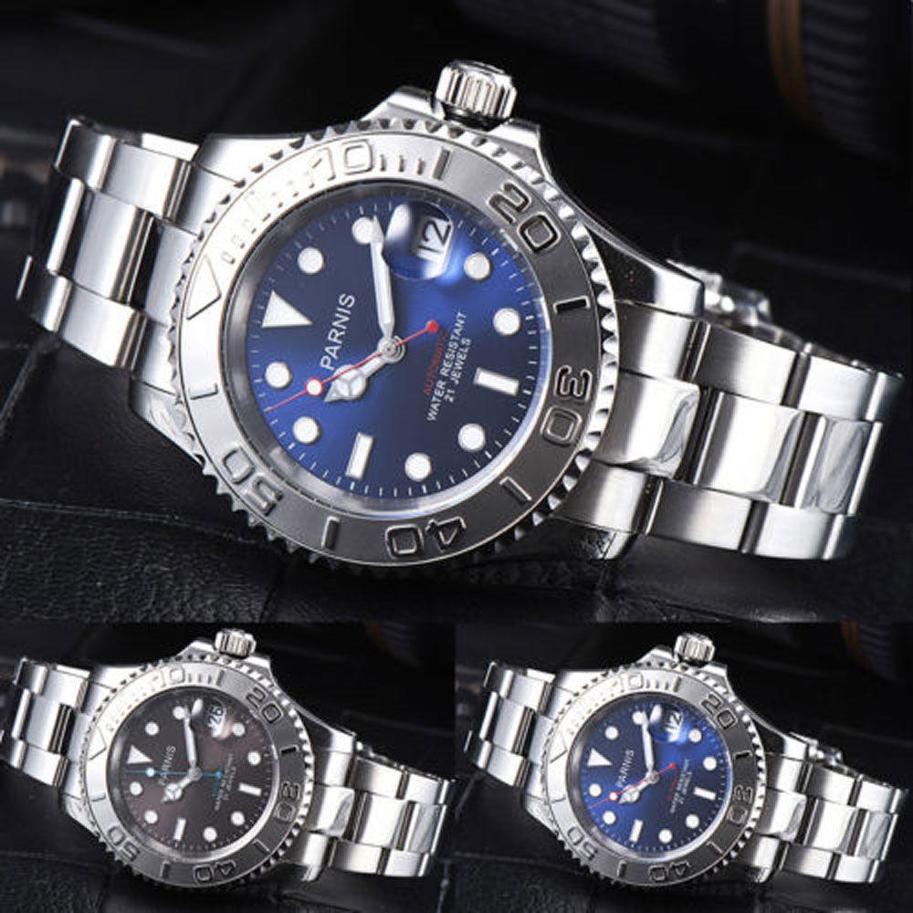 41mm Parnis Blue Brown Black Dial Sapphire Glass Romantic Sweet Date window 21 jewels Miyota 8215 Automatic Movement men's Watch