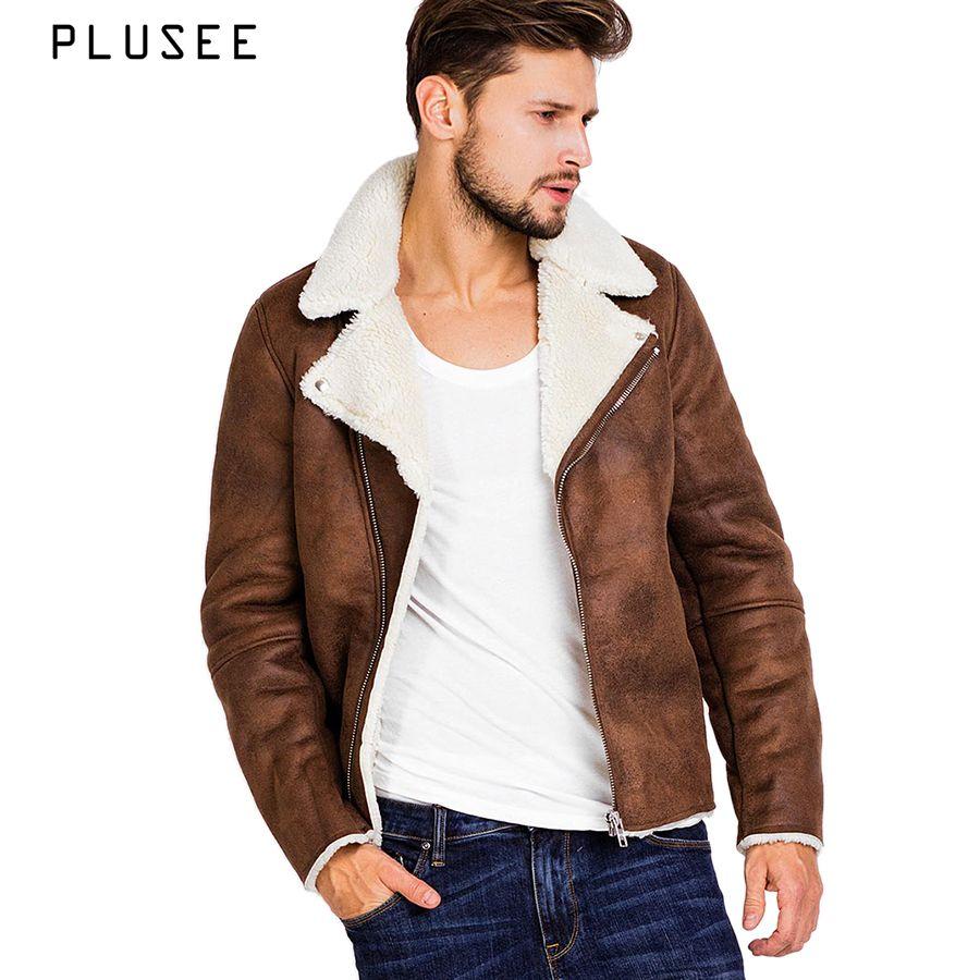 Plusee faux suede jacket for men brown winter leather jacket pocket men 2018 autumn turn down collar warm jacket outwears S-XXXL