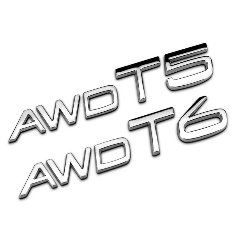 3D Metal AWD T5 T6 Logo Rear Badge Trunk Emblem for Volvo S60L S40 XC60 V40 V60 V90 XC90 Styling Car Accessory