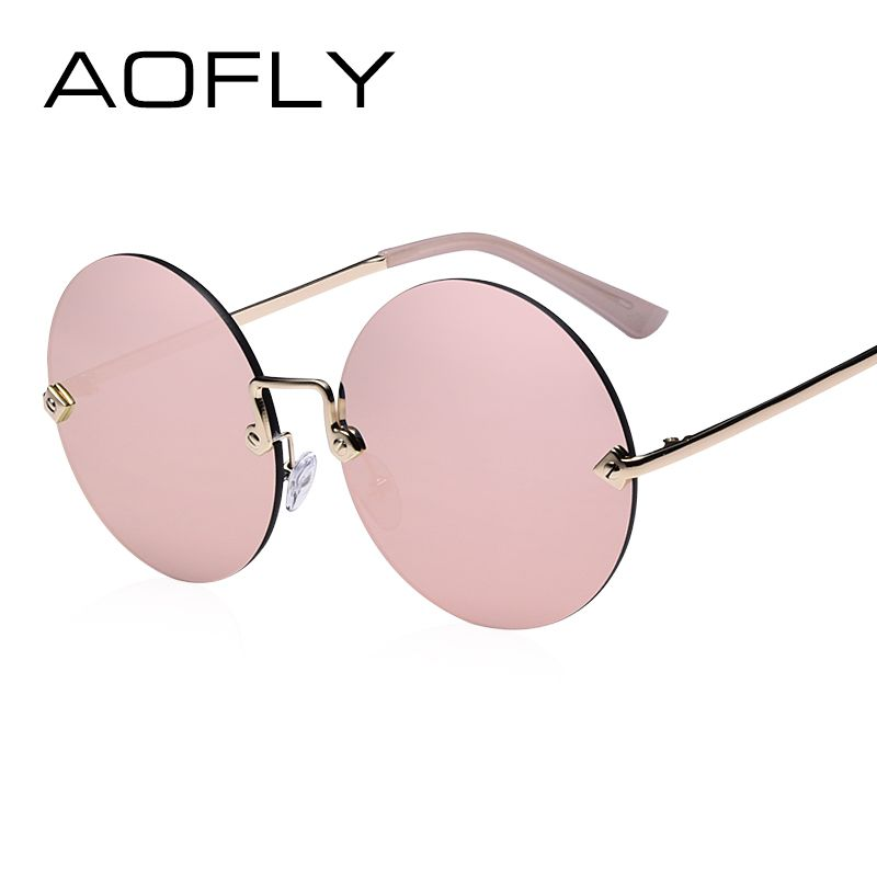 AOFLY Round Rimless Sunglasses Women Vintage Sun Glasses Women Female Brand Design Mirrored <font><b>Lens</b></font> UV400 Glasses lunette de soleil