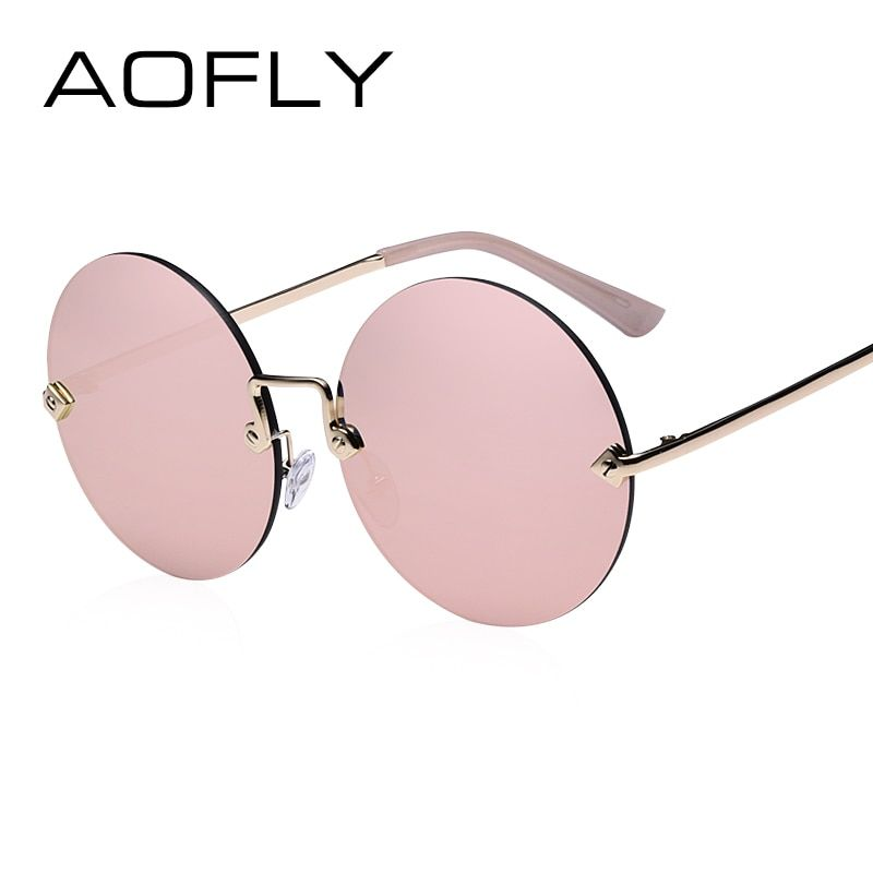 AOFLY Round Rimless Sunglasses Women Vintage Sun Glasses Women Female Brand Design <font><b>Mirrored</b></font> Lens UV400 Glasses lunette de soleil