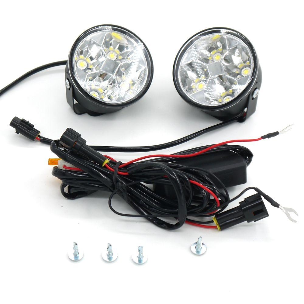 Eonstime 2pcs 12V/24V 4LED 4W Car Auto Daytime Running Fog Light DRL LED Driving Lamp 6000K Waterproof Harness (controller) off
