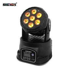 Перемещение головы светодио дный LED мыть сценическое освещение 7 x Вт 18 Вт RGBWA + УФ 6in1 Professional DMX512 Для Дискотека DJ Music вечерние KTV освещение для н...