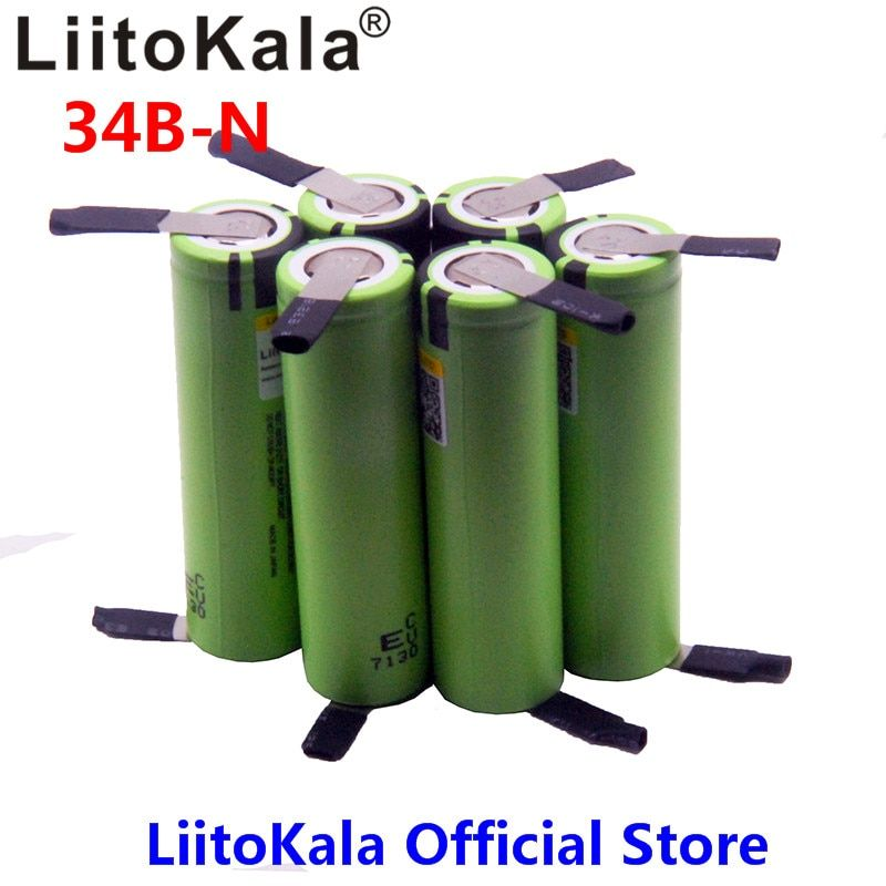 2018 6pcs LiitoKala NEW original NCR18650B 3.7V 3400mAh 18650 rechargeable lithium battery for battery + DIY nickel piece