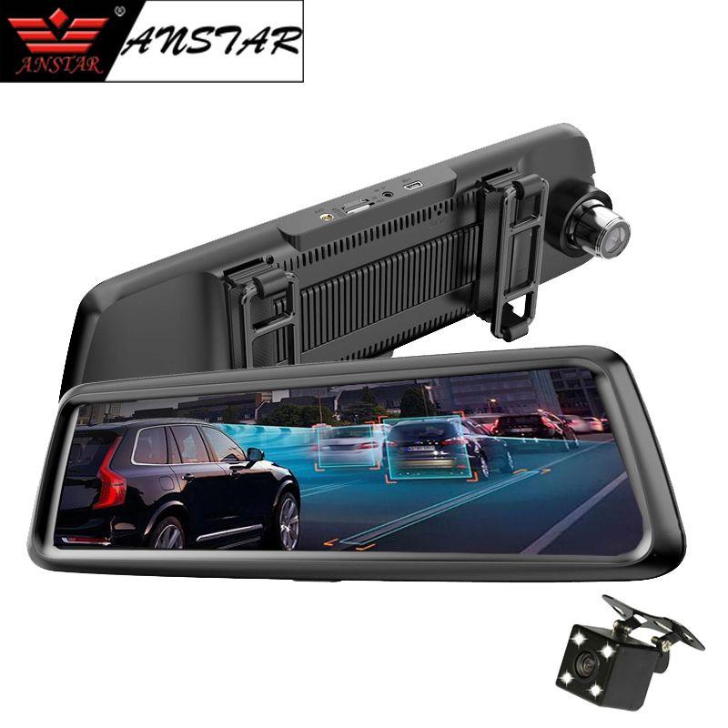 Anstar 4G Car DVR 10 inch Registrar Rear View Mirror Car Camera GPS Navigation Dual Lens Android 1080P Dash Cam Video Recorder