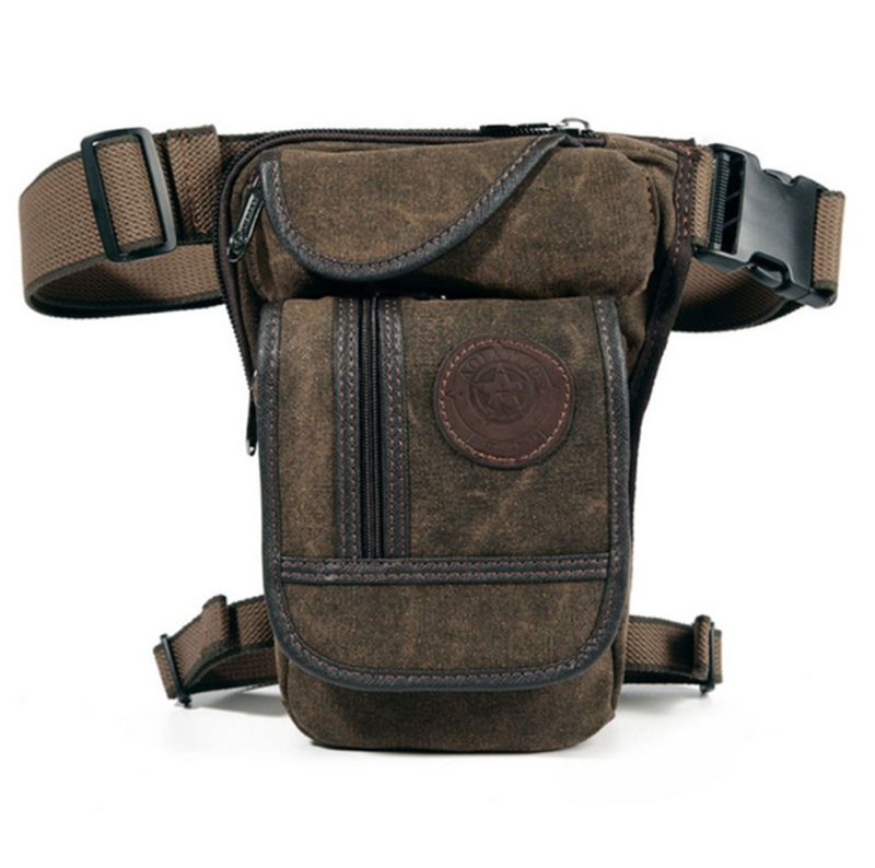Men Canvas Waist <font><b>Thigh</b></font> Leg Drop Bag Military Travel Riding Motorcycle Cross Body Messenger Shoulder Hip Belt Bum Fanny Pack