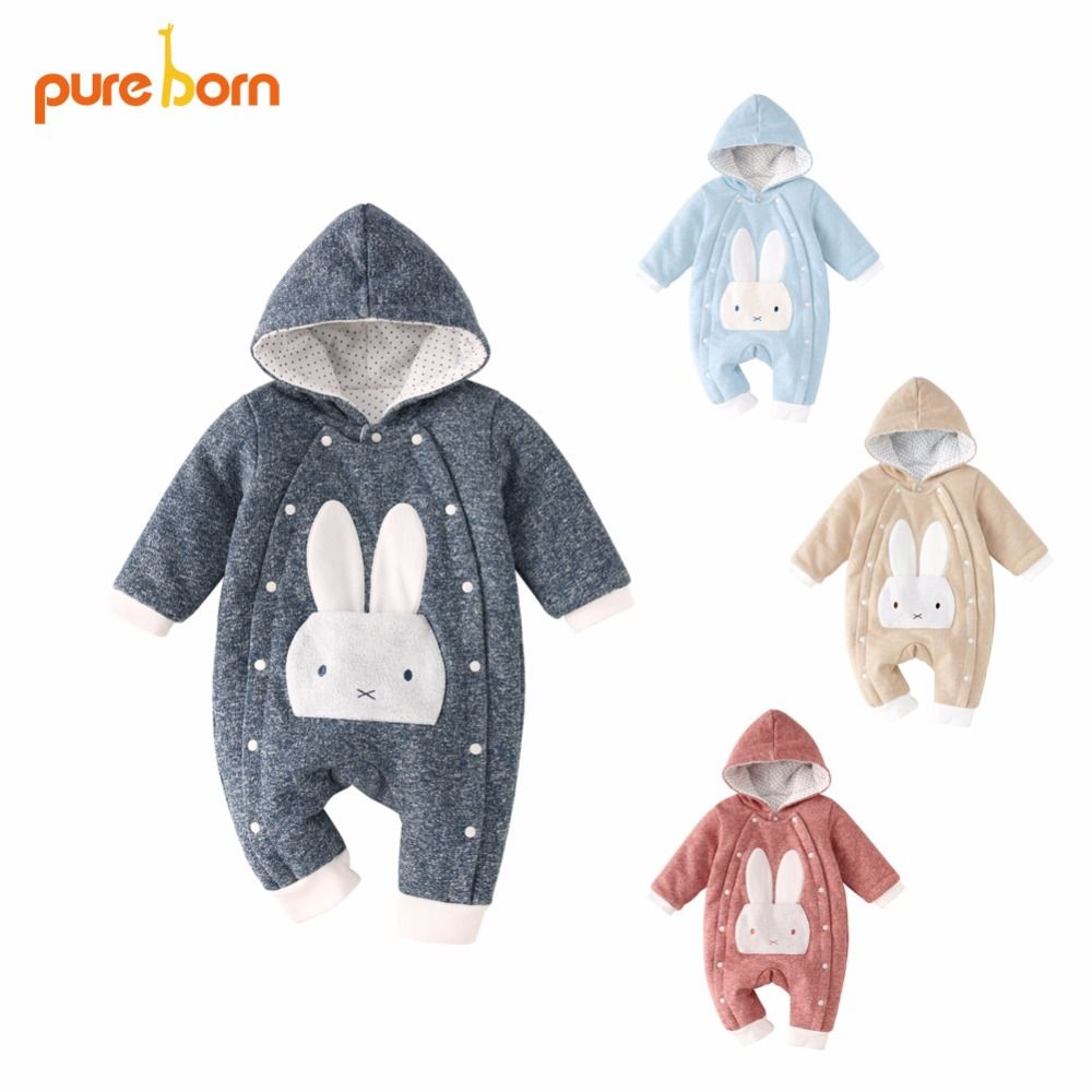 Pureborn Baby Romper Warm Thicken Baby Clothes 2018 Cotton Jumpsuit Newborn Hooded Overall Baby Girl Boys Costumes Gift Brand