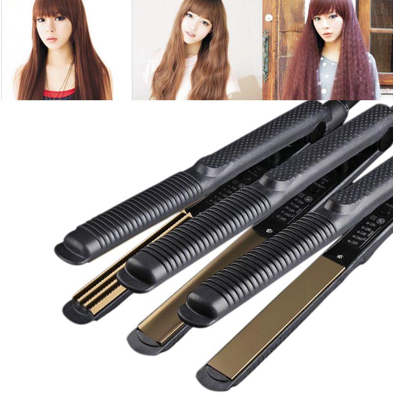 2017 Professional Temperature Control Titanium Electronic Hair Straighteners Corrugated Curler Crimper Waves Iron Tools