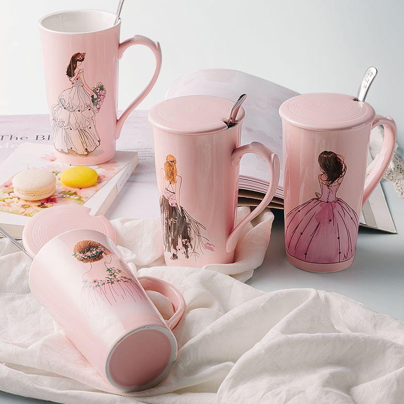 400 ml créative rose tasses à café délicate belle fille tasse à café mignon tasse en céramique avec cuillère 1 pièce livraison gratuite